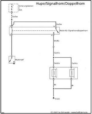 stromlaufplan hupe signalhorn golf 1 und golf cabrio wiki. Black Bedroom Furniture Sets. Home Design Ideas