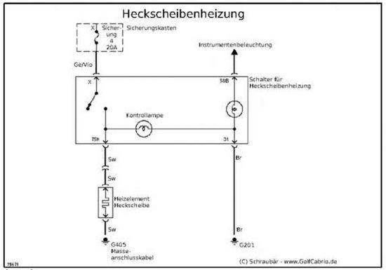 Stromlaufplan Heckscheibenheizung – Golf 1 und Golf Cabrio Wiki
