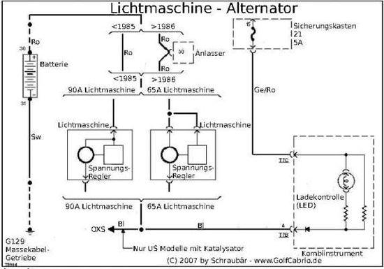 Stromlaufplan Lichtmaschine – Golf 1 und Golf Cabrio Wiki